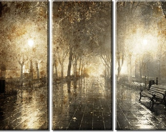 Framed Huge 3-Panel Night Cityscape Street Light Canvas Art Print - Ready to Hang