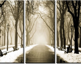 Framed Huge 3-Panel Winter Downtown City Street Canvas Art Print - Ready to Hang