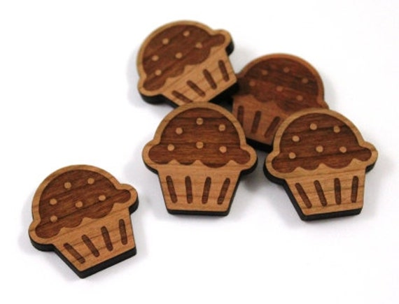 Laser Cut Supplies-8 Pieces. Cupcake Charms - Laser Cut Wood Cupcake -Earring Supplies-  Little Laser Lab Sustainable Wood Products