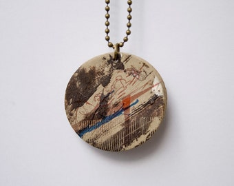 Handmade Stoneware Necklace. Unique Boho Pendant.