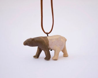 Handmade Jewelry. Unique Jewelry. Polar bear pendant. Porcelain necklace. Bear Jewelry. Bear necklace.