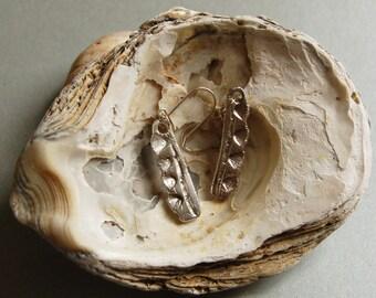 Sterling silver earrings, Silver metal clay earrings.