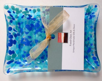 Fused Art Glass Soap Dish  - Hostess Gift - Wedding Present - Bathroom Decor