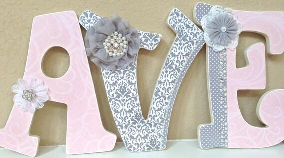 Custom Nursery Letters- Baby Girl Nursery Decor-Pink And