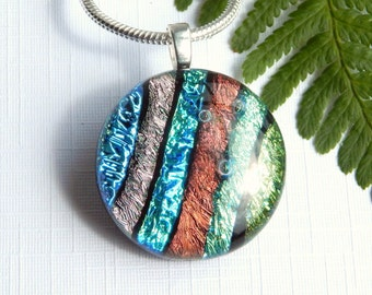 Striped Multicolor Dichroic Glass Pendant - Fused Glass Jewelry - Blue and Green Glass Small Round Necklace