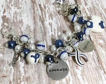 Lou Gehrig's Disease Bracelet in Stainless Steel | Amyotrophic Lateral Sclerosis Bracelet | ALS Jewelry | Lou Gehrig's Jewelry | ALS Jewelry