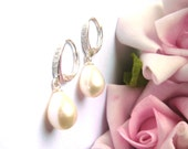 Stunning Serling silver bridal earrings with dainty CZ sparkle and ivory freshwater pearl drops- lever back