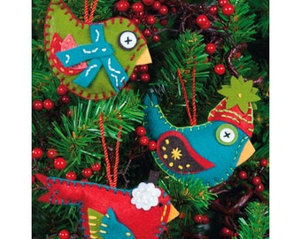 Whimsical Birds Ornaments Felt Applique Kit