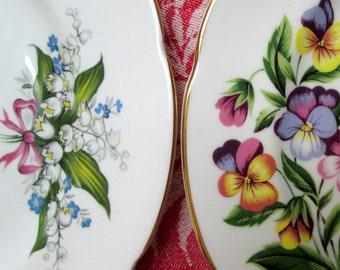 Tea Plates, Set of 4, Floral Bone China