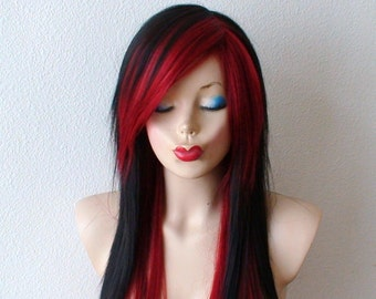 Scene wig. Black /Wine red scene hairstyle wig. Emo wig. Emo hair long straight black hair wig for daytime use or cosplay