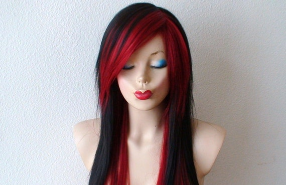 Scene Wig. Black /Wine Red Scene Hairstyle Wig. Emo By
