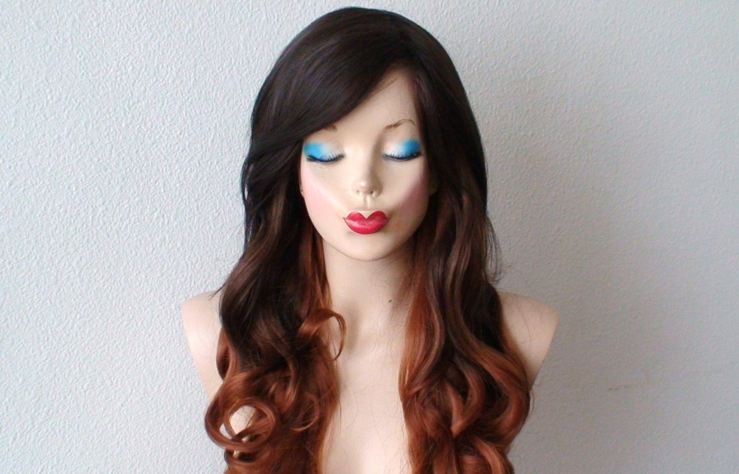 Chocolate Brown Auburn Ombre wig. Long curly hairstyle long
