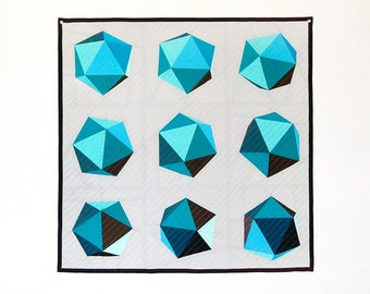"""Spinning Icosahedron Quilt - 8"""" Blocks / 24"""" Finished - Paper Pieced PATTERN - PDF"""