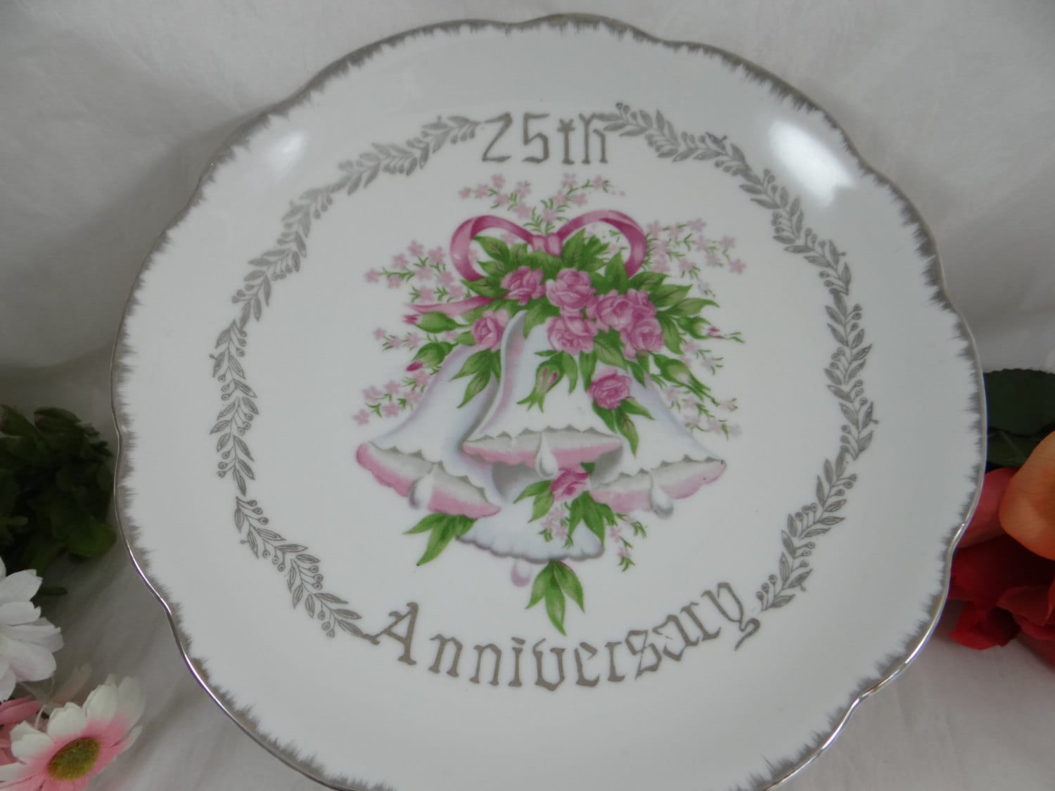 Silver 25th Wedding Anniversary: Vintage 25th Silver Wedding Cake Plate Anniversary Gift