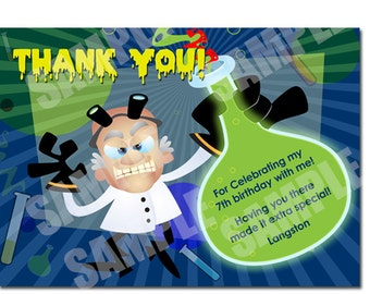 Crazy Scientist Matching Thank You Card - Printable Crazy Scientist Thank You Card