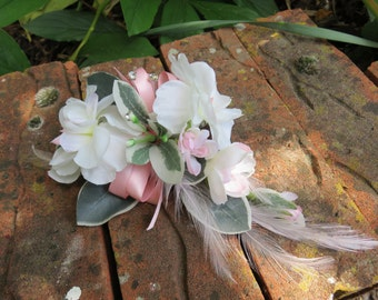 Pink and Ivory Blossom Flower Corsage, Wedding, Prom or Event.
