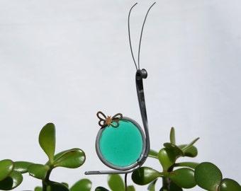 Stained Glass Green Teal Snail Plant Stake, Garden Art, ShellyGlassStudio