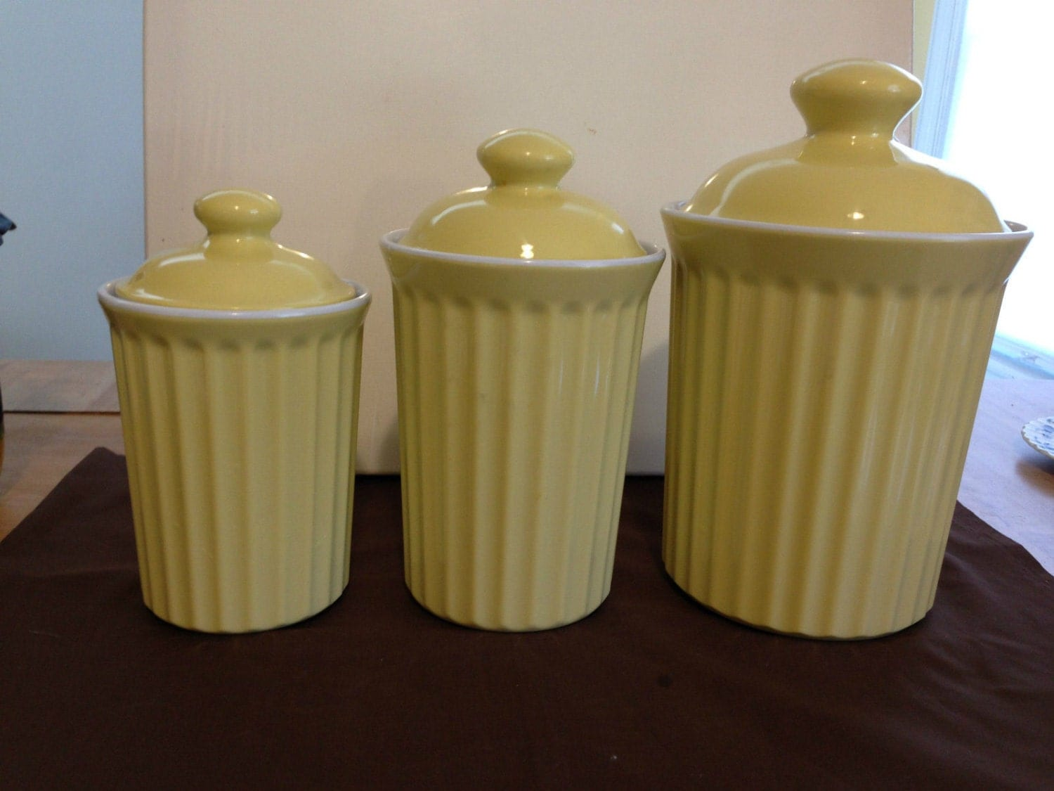 Vintage kitchen set of 3 retro pale yellow by yourmamashouse for Kitchen set yellow