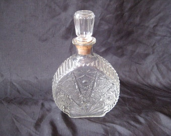 Clear cut glass liquor, alcohol decanter, cordial container, cork stopper, federal law prohibits, 1950s