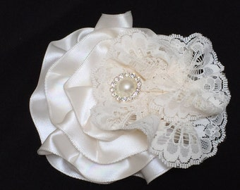 Ivory Lace Magnetic Brooch, Satin and Lace Wedding Corsage,