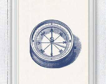 Old compass in blue - Nautical print poster , sea life tools print- Vintage illustration compass NTC025
