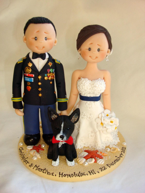 US Army Groom & Bride with one dog wedding cake topper Custom