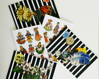 Circus and Doll Postcards - elephant, daisy, bicycle, moon, clock, stamp, dolls of the world multiples