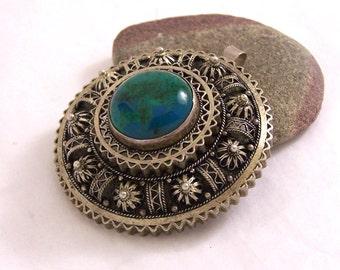 Vintage Israel Pendant, Silver Filigree Israel Pendant, Green Stone Pendant, Israel Pendant, Turquoise Pendant, Israel Brooch,