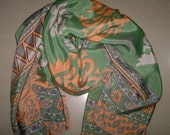 Small Scarf Indian Silk Sari Scarf Peach and Green SSF1
