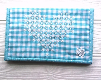 Kindle cover, sleeve, pouch in gingham with 1950's chicken scratch embroidery