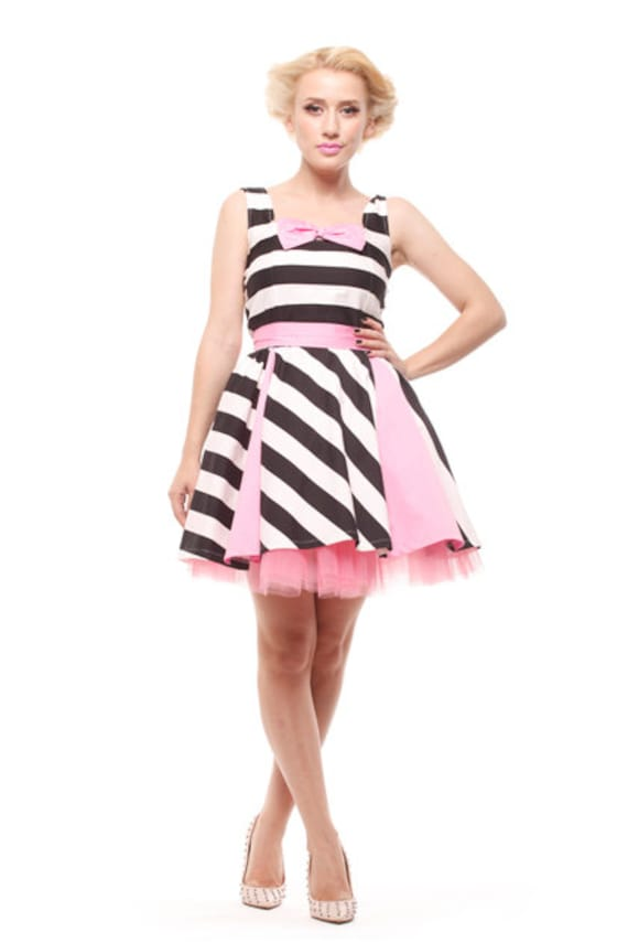 Short Stripes and Pink Pin Up dress, Bridesmaid dress, Prom dress