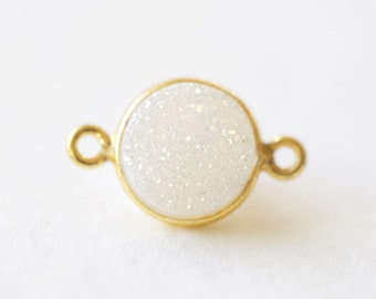 Glittery White Druzy Connector Station Charm - sparkling round raw natural stone in bezel frame