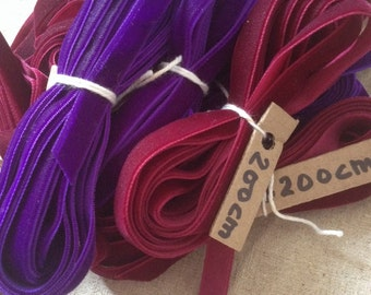 Velvet ribbon // red wine or violet purple // 2 metres 200cms 80 inches UK seller