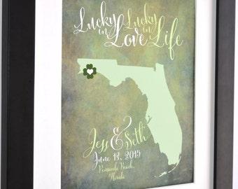 Key West, Wedding Gift, Florida Wedding Gift Idea Personalized Wedding Map Florida Art Print Florida Map Signs Key West Map Florida State
