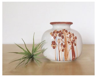 Retro Vase with Abstract Tree/Flower Graphics