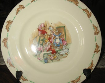 Bunnykins Royal Doulton.ceramique plate, plate for children, Doulton collection.