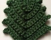Ridged Leaf Sew on Hand Crochet Dark Sage Green Caron Simply Soft Yarn