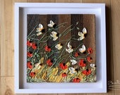 Wildflower Revivals, 16x16, White frame, Abstract Floral Impasto Painting, Item# 265