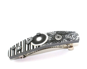 Black and white barrette, polymer clay barrette, elegant barrette with stripes and abstract pattern, hair jewelry for women and girls.