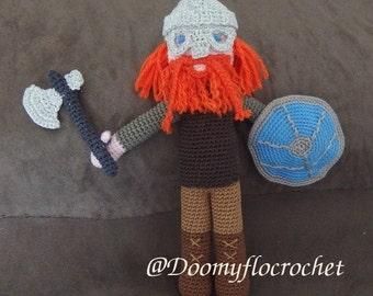 Viking warrior amigurumi doll