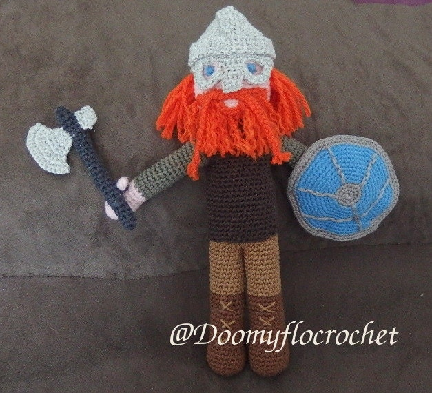 Viking warrior amigurumi doll by Doomyflocrochet on Etsy