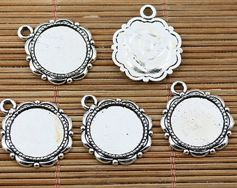 4pcs tibetan silver tone cabochon settings in 18mm EF1569