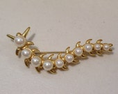 Vintage Faux Pearl Gold Tone Centipede Brooch Pin, Jewelry, 1980's