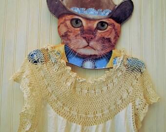 Sale ANTIQUE WHITE ecru dress boho Nightgown lace details STEAMPUNK small/medium White Ivory Ecru hand crochet handmade vintage dress cotton