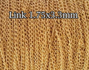10FT(3mt) Gold filled chain, Curb chain link 1.75mm , gold Curb chain Cable , gold fill Cable chain Curb by foot , 10% discount price