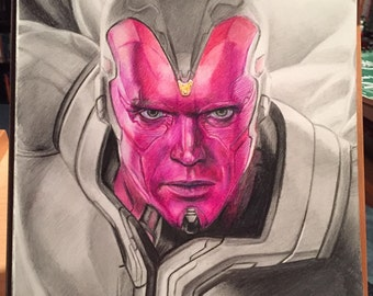Limited Time SALE!! Original Drawing of Paul Bettany as Vision in Avengers: Age of Ultron (NOT a print)