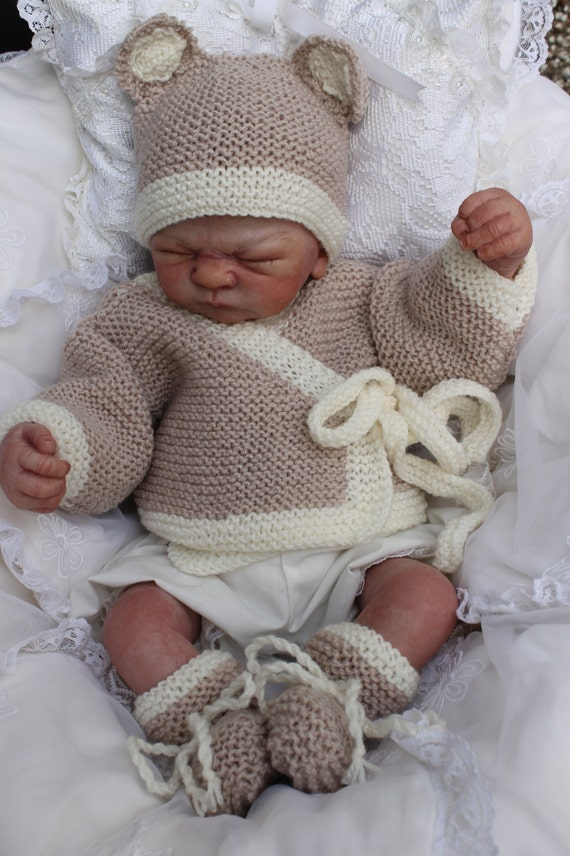 baby knitting pattern baby bear set jacket hat booties 0/ 12M