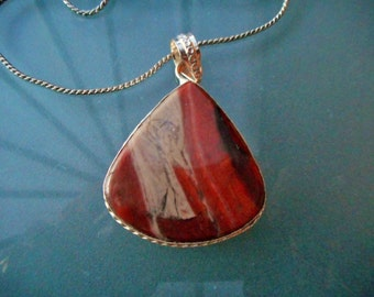 FREE WORLDWIDE Shipping - marbled rhodonite pendant healing gemstone necklace in fine silver setting link chain