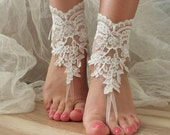 Beach wedding barefoot sandals, embroidered sandals, ivory Barefoot , french lace sandals, wedding anklet, FREE SHIP