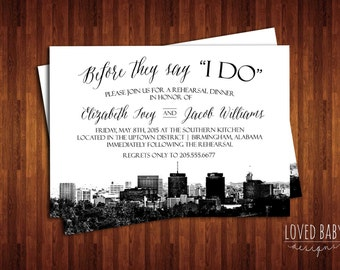 Birmingham, Alabama Skyline Invitation, Steel City Skyline Invitation - DIY, Printable, Rehearsal Dinner, Save the Date, Wedding Shower